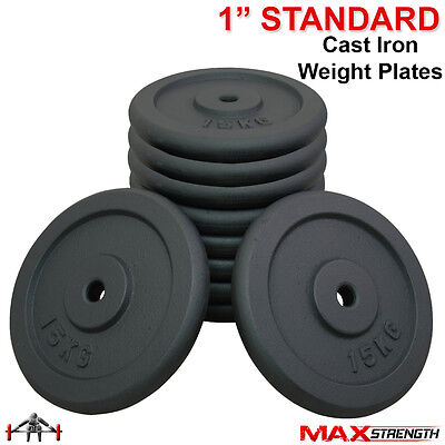 "1"" Standard Weight Plates 30Kg-150Kg Discs Weights Spinlock Collars Fitness Gym"