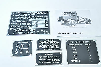 International 5T 4x2 COE Data plate set  WW2
