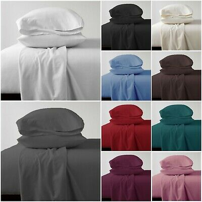 Soft Flannelette Jersey Bedding Linen Fitted Duvet Cover Set Pillowcases Cot