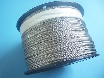 "304 Stainless Steel Wire Rope Cable 1/16"", 7x7, 2500 ft, Made in Korea"