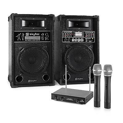 Karaoke Dj Party Pa System 2X Speakers 2X Microphones 600W Set Usb Sd Mp3