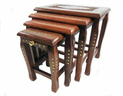 Assembled Nest Of 4 Hand Carved Indian Shesham Wood Table Side Coffee Tables