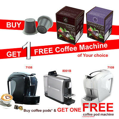 Buy 400 Nespresso Camptiable Coffee Capsules get 1 Free Coffee Pod Machine