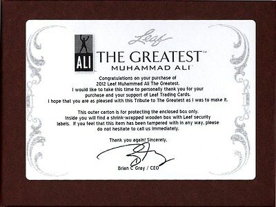 "2012 Leaf Muhammad Ali ""the Greatest"" Trading Cards Box Blowout Cards"