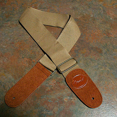 Guitar Strap, New, Cotton/leather, Light Khaki/brown, Embossed With Logo.