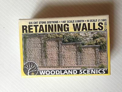 "Woodland Scenics 1159,""N"",Cut Stone Retaining Walls, (6), New Mint In Box"