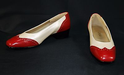 NIB MAGDESIANS Vintage Women's Red & White Spectator Heels Shoes Size 7 1/2 M
