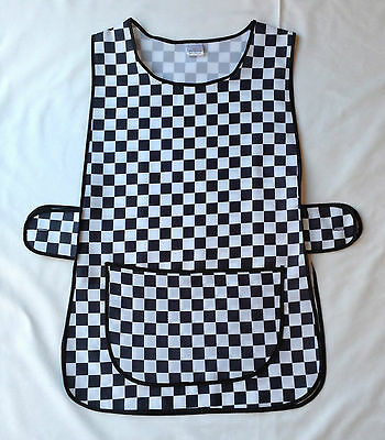 New Womens Black White Check Front Pocket Side Button Overall Tabard Apron