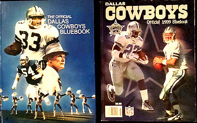 2 Book LOT • 1980 & 1999 Official Dallas Cowboys Bluebook • Team Yearbook