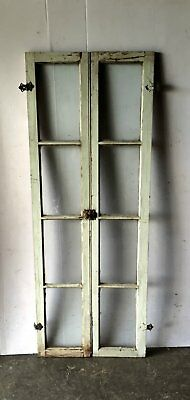 Pair Vintage Shabby Cottage Chic Windows Casement Sidelights Cabinet 768-16