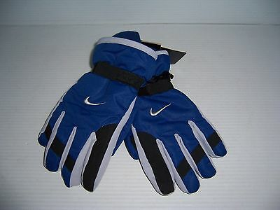 Nike Unisex Youth Kids Blue, Black & Grey Insulated Winter Gloves Size 8/20 New!