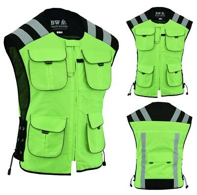 Motorcycle, Cycle, Security Water Resestant Hi Viz Vest Waistcoat Yellow Pockets