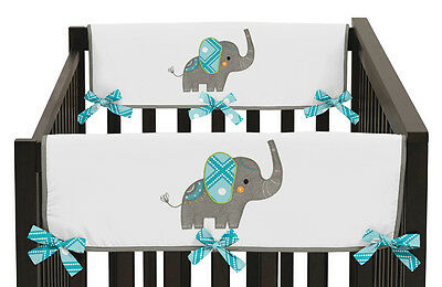 Mod Elephant Jungle Baby 2P Crib Side Rail Guard Wrap Cover Teething Protector