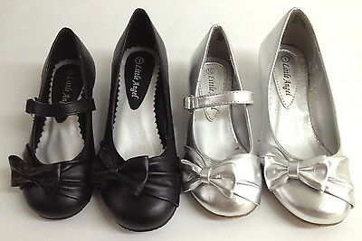 NEW Girls Little Angels Sophie649E WEDDING PAGEANT Faux Leather Bow Wedges Shoes