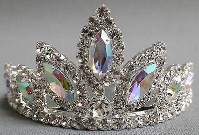 NEW Wedding Pageant Kids Girl Multi AB oval stone Rhinestone Tiara Haircomb