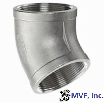 """45 Degree Elbow 150# 304 Stainless Steel 1-1/2"""" Npt Home Brewing New  761Wh"""