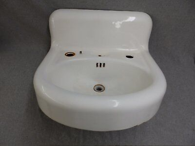 Antique Cast Iron White Porcelain Sink Bathroom Lavatory Old Vtg Plumbing 772-16