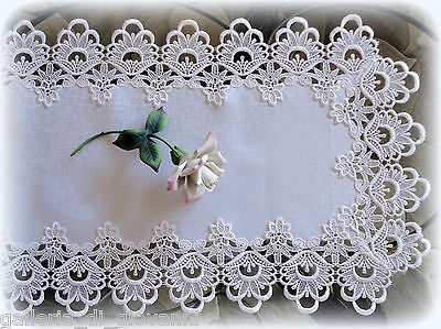 "Lace Table Runner Dresser Scarf DECADENT WHITE 36""  Doily"