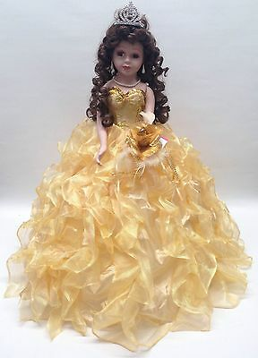 "NEW Yellow Gold 20"" 15 Anos Quinceanera Ruffle Porcelain Umbrella Muñeca Doll"