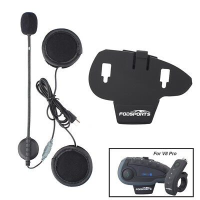 Headphone mic/speaker+Clip for V8 BT Remote Bluetooth Motorcycle Helmet Intercom