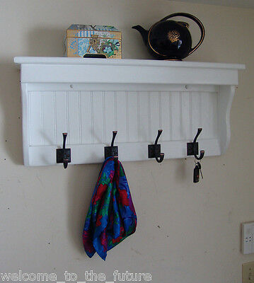 "30"" Handcrafted Wooden wall mount Coat Rack, Display Shelf, Key 4 Hooks, White"