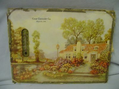 Thermometer Crow Chevrolet Co. Magnolia Ark. Cottage Framed G.B. Fox Print 1930s