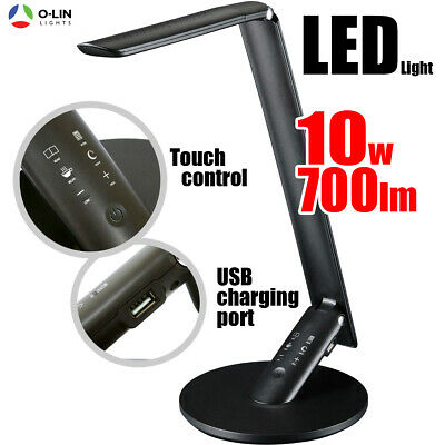 LED Desk Light 10W with USB Charging Port Touch Dimmable Lamp Home Office BLACK