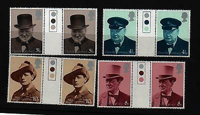 Stamps 1974 Churchill Traffic Light Gutter Pairs Mnh Unfolded Sg 962 - 965