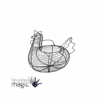 Rustic Wire Chicken Hen Egg Easter Basket With Handles Kitchen Home Gift