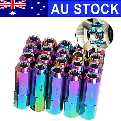 AU 20pcs M12x1.5 60mm Aluminum Alloy Tumer Extended Tuner Lug Nuts For Wheel Rim