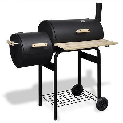 New Offset BBQ Smoker Charcoal Wood Barbeque Grill Cooking Chamber 30.5cm Steel