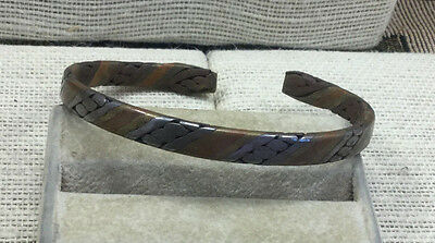 Vintage Bracelet Mixed Metal Woven Pewter Copper Brass Cuff
