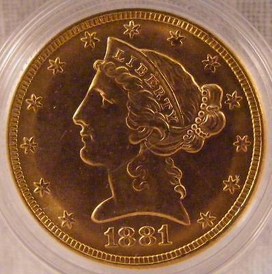 1881 $5 Dollar Gold Half Eagle Liberty Head Coin ~ PCGS MS62 with CAC sticker