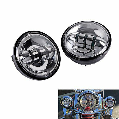2X 4.5'' Auxiliary Spot Fog Lamps LED Lights For Harley Davidson Motorcycle