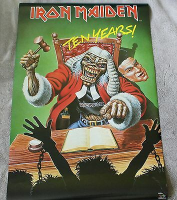 IRON MAIDEN Ten Years 1990 Steve Harris Bruce Dickinson Judge Music Poster VGEX