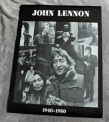 John Lennon 1940-1980 9 Pix B&W Memorial Collage Beatles Music Poster VGEX C7