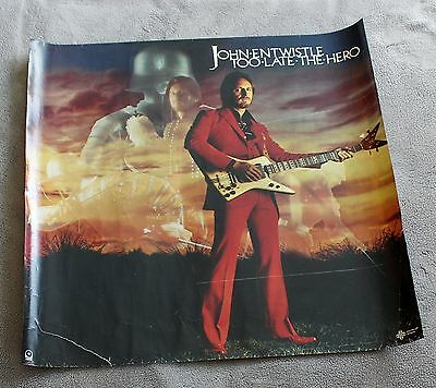 John Entwistle (of The WHO) Too Late the Hero 1981 ATCO Record PROMO Poster G C4