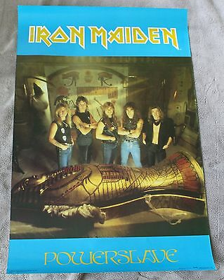 IRON MAIDEN Powerslave 1984 Pharaoh Mummy Egypt Group Photo Music Poster VGEX C7