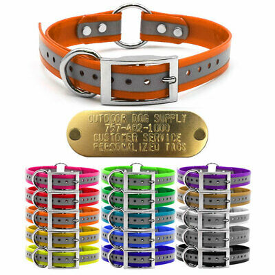 """Hunting Dog Reflective Name Collar 1"""" Strap Ring in Center & Brass Tag ID Plate"""