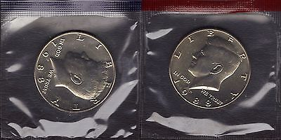 1988-P & 1988-D Uncirculated Kennedy  Half Dollars In Mint Set Cello 2 Coins