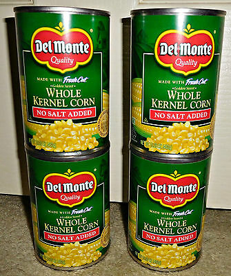 Del Monte Canned Whole Kernel Corn No Salt Added 4 Cans 15.25 oz Best by 5/29/18