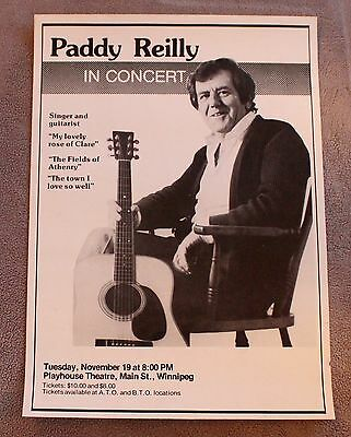 Paddy Reilly in Concert 1980s? Irish Celtic Folk Clare Athenry Promo Poster VG