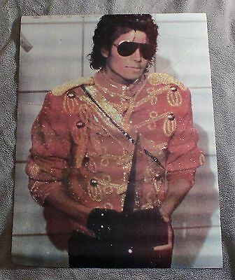 Michael Jackson Red Military Royal-esque  Jacket Sequin 1984 Music Poster VGEX