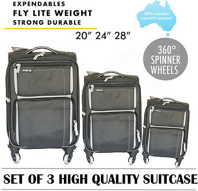 3Pc Fib Light Weight 4 Wheel Trolley Suitcase Luggage Expendable Carry On  Black