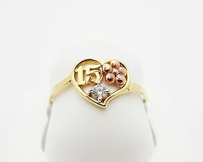 14k Tri Tone Gold 14K Solid Gold Quince 15 Anos Sweet Fifteen Ring