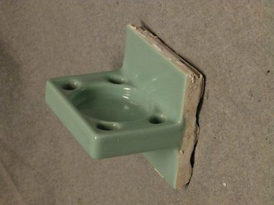 Vtg Ceramic Jadeite Green Porcelain Tile In Toothbrush Cup Holder Fixture 784-16