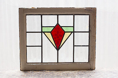Antique Stained Glass Window Three (3) Color Art Deco Design              (2998)
