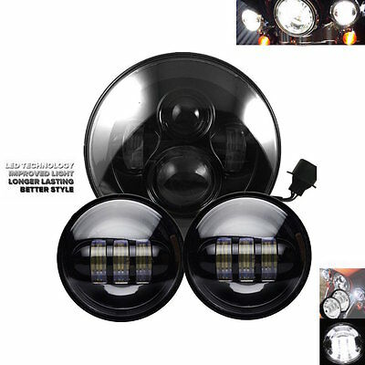 7 Inch Round LED Headligh+ Black 4.5 Inch LED Passing Lamps for Harley Davidson