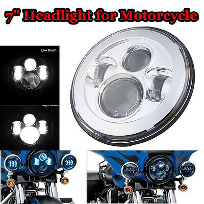 7 Inch Round Silver LED Projector Headlight HI/LO Beam Light For Harley Davidson