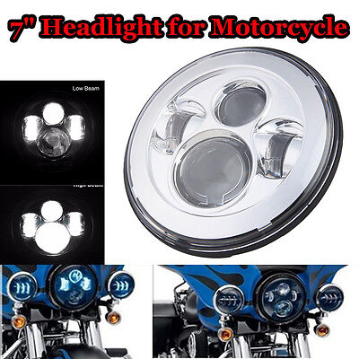 "7"" Round Projector Daymaker LED HiLo Beam Headlight For Harley Davidson Daymaker"
